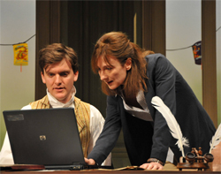 Alasdair Craig (Valentine Coverly) and Cate Hamer (Hannah Jarvis) in Arcadia