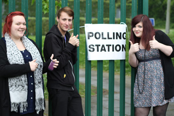 Young people pose the thumbs up