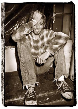 Kurt Cobain crying. Photo by Ian Tilton.