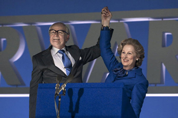 Denis (Jim Broadbent) and Margaret Thatcher (Meryl Streep)