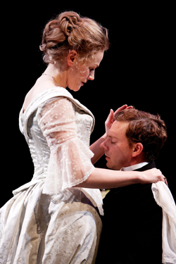 Maxine Peake as Miss Julie and Joe Armstrong as Jean in MISS JULIE. Photo by Jonathan Keenan