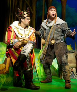 Marcus Brigstocke as King Arthur and Todd Carty as Patsy. Photo by Manuel Harlan