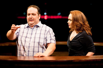 Justin Moorhouse as Landlord and Victoria Elliott as Landlady in TWO, photo by Jonathan Keenan