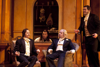 Pedro, Benedict, Leonato and Claudio in Beatrice et Benedict.